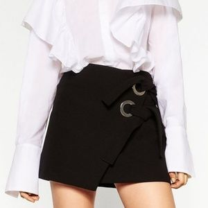 Zara Black Mini Skirt with Bows